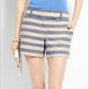 Ann Taylor Blue White Striped Shorts Size 6